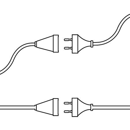 Fiche et prise de fil. Concept de connexion, déconnexion, électricité. Banque d'images