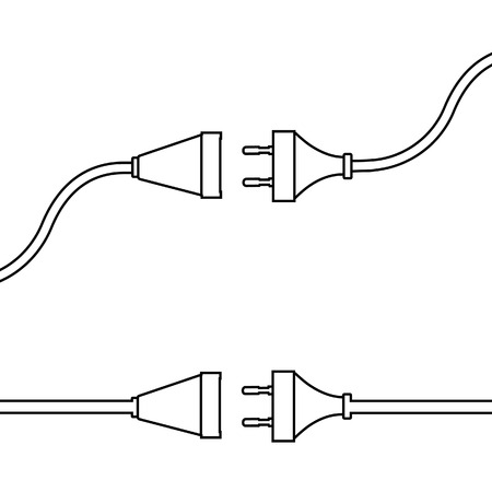 Wire plug and socket. Concept of connection, disconnection, electricity.