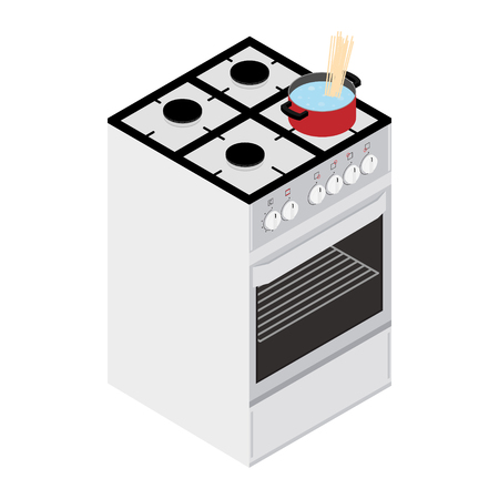 Food preparation. Boiling water and pasta in red pan, cooking pot on gas oven stove isometric view. Cooking concept