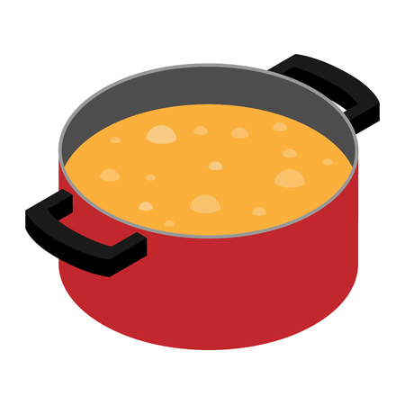 Boiling soup in red pan, cooking pot. Cooking concept.