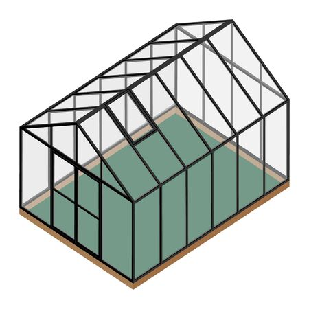 Empty greenhouse with closed door isometric view isolated on white background. Glass house.