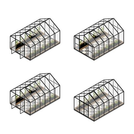Greenhouse at an organic farm set, collection with opened, closed door and windows. Growing tomatoes isometric view. Glass house.