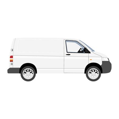 Hi-detailed Cargo Delivery Van vector template. Mockup Template for Branding and Corporate identity design on transport. Realistic White Cargo Van.