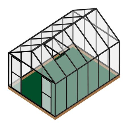 Empty greenhouse with opened window and door isometric view isolated on white background. Glass house. Illustration