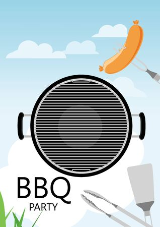 Bbq party invitation with grill and food. Barbecue poster. Food flyer.