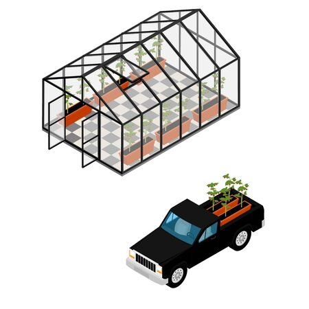 Greenhouse and pickup car at an organic farm. Growing tomatoes isometric view. Glass house.