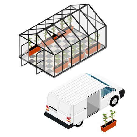 Greenhouse and minivan deliver plants at an organic farm. Growing tomatoes isometric view. Glass house.