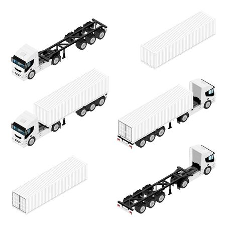 Semi trailer truck vector mockup for car branding and advertising. Isolated lorry Cargo vehicle set on white background. Isometric view Illustration