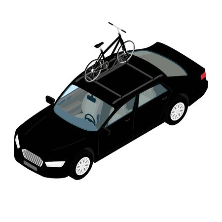 Transporting bicycles on rack. Bikes on the trunk. Summer vacation. Road travel Vettoriali