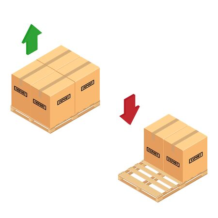 Boxes on wooden pallet. Warehouse import and export cardboard parcel boxes stacked wooden pallet isometric view