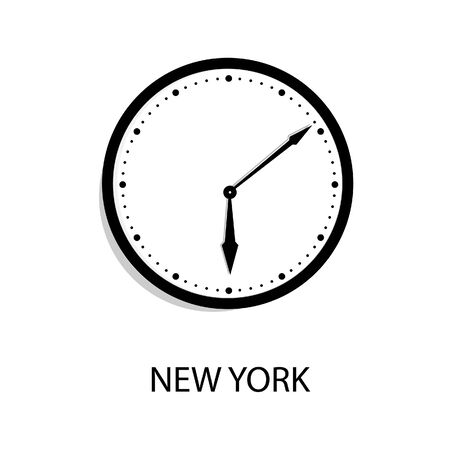 World time clock New York time. Wall office clock isolated on white background