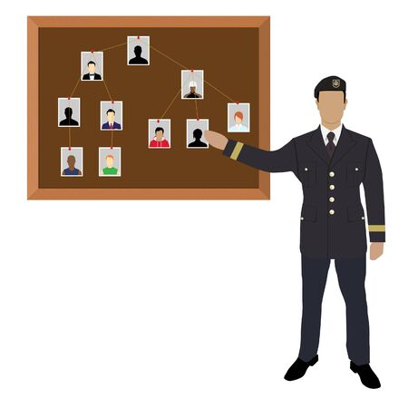 Policeman, soldier, captain with investigation board.Crime investigation concept Ilustracja