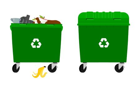 Overflowing and empty garbage bin, container. Vector isolated on white background Ilustracja