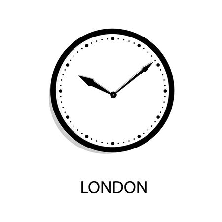 World time clock London time. Wall office clock isolated on white background