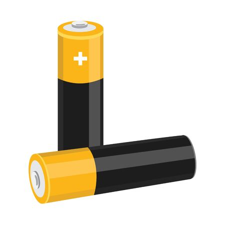 Two AA size batteries isolated on white backgraound.  イラスト・ベクター素材