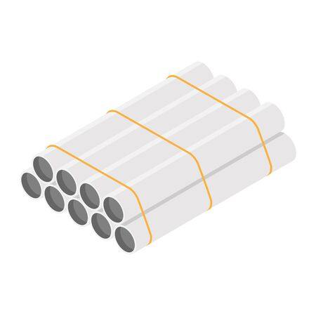 Steel or Aluminum pipes diameter isolated on white background.  Industrial steel tubes