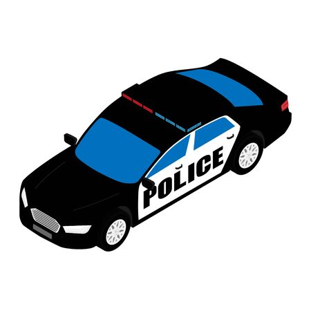 Police car isometric view isolated on white background. Police transport Stockfoto - 129806947