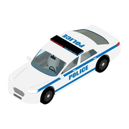 Police car isometric view isolated on white background. Police transport