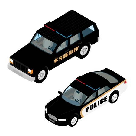Police car set isometric view isolated on white background. Police transport. Sheriff offroad car and police car Stock Illustratie