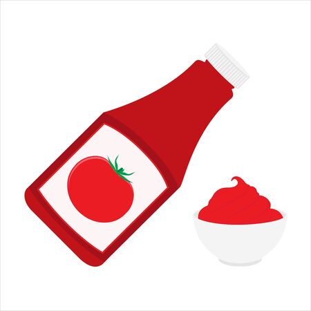 Ketchup bottle and tomato ketchup in a bowl isolated on white background. Tomato ketchup sauce