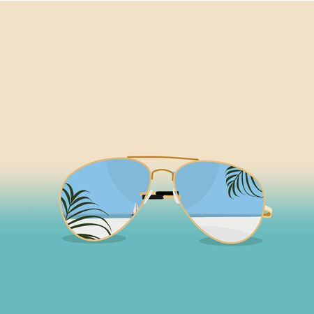 Summer time vector banner, background design with sunglasses. Hello summer. Vacation and travel concept. Stock Illustratie