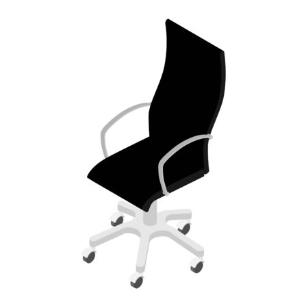 Modern black office chair isolated on white background isometric view . Office furniture  イラスト・ベクター素材