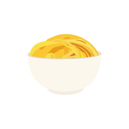 Tasty appetizing classic italian spaghetti pasta in a bowl isolated on white background.