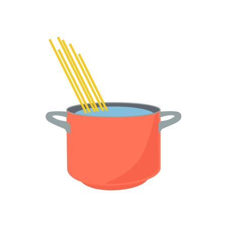 Spaghetti boiling in hot water cooking pot isolated on white background. Imagens - 129807160