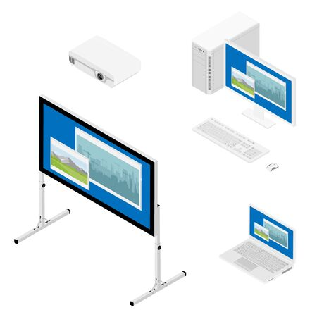 Laptop computer, projector and screen isometric view. Realistic video projector,  screen, personal and laptop computer