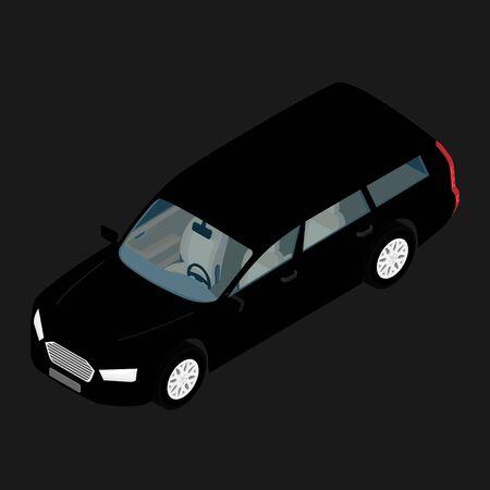 Black hi-detailed passenger station wagon car isometric view isolated on background.