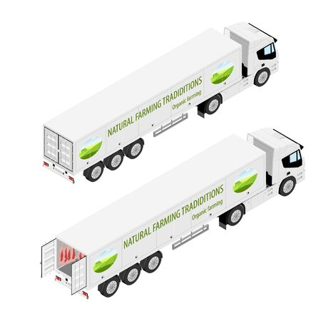 Truck with refrigerated container. Meat truck. Natural farming traditions. Organic farming. Back isometric view isolated on white background.  イラスト・ベクター素材