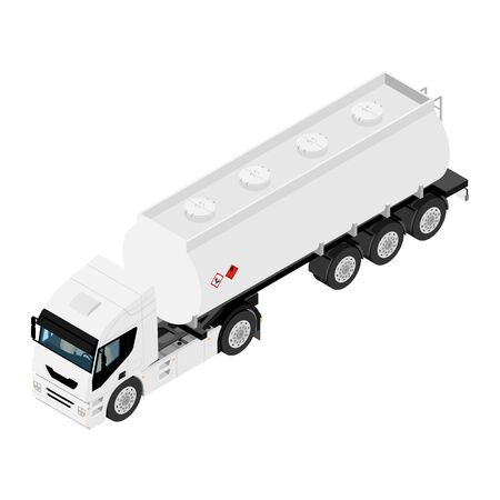 Gasoline tanker or Oil trailer truck isometric view isolated on white background.  イラスト・ベクター素材