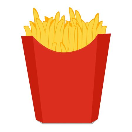 raster Potatoes French Fries in Red Carton Package Box Isolated on White background. Fast Food Imagens - 130082668