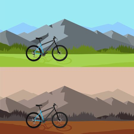 Two different raster illustration of bicycle riding in wild mountain nature landscape, background. Sunset time. Day time
