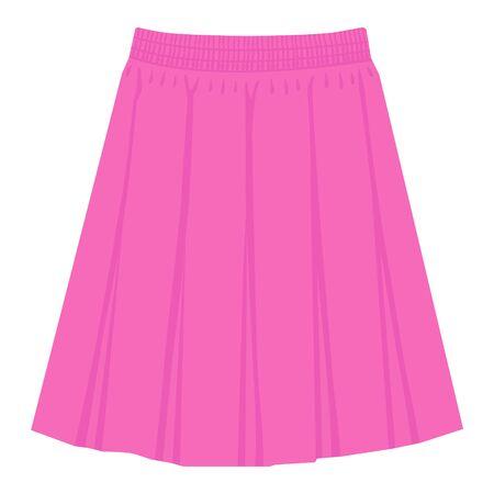 Plantilla de falda rosa de vector, Ilustración de mujer de moda de diseño. Falda plisada de cuadro para mujer Ilustración de vector