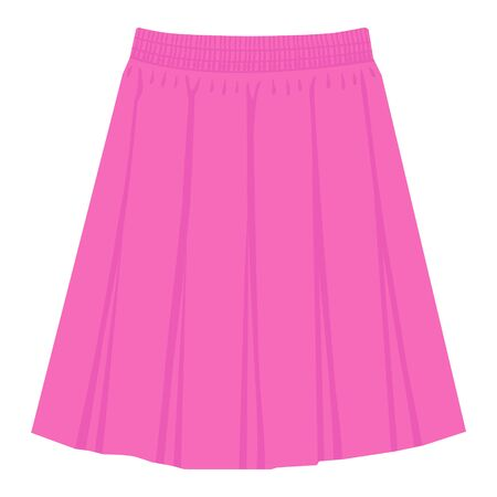 Vector pink skirt template, design fashion woman illustration. Women box pleated skirt