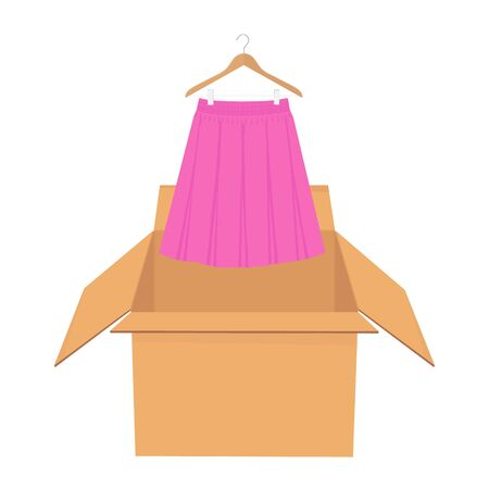 Pink elegant skirt on hanger. Shopping sale concept. Illustration