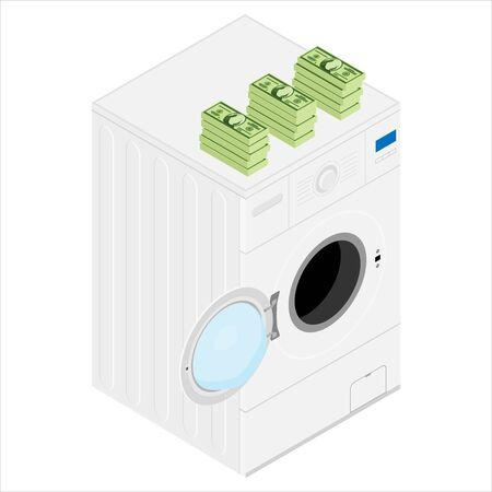 Money laundering concept. Stack of money dollars on washing machine. raster illustration