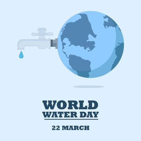 World water day - faucet or water tap with a drop of water out to earth. raster