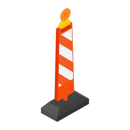 Road street barrier with warning light isometric view
