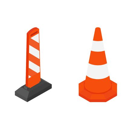 Road street barrier and traffic cone isometric view.
