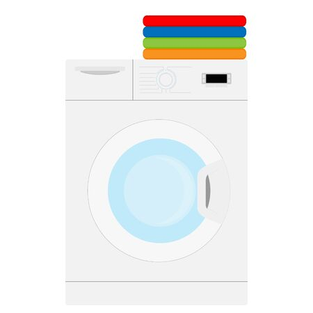 Laundry on washing machine indoors. Stack of colorful folded clothes. Household concept. Clean laundry pile. raster illustration Standard-Bild - 130083092
