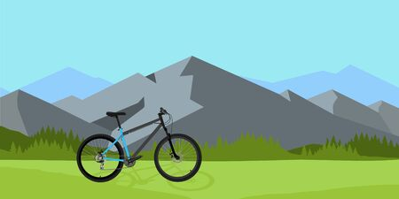 Bicycle riding in wild mountain nature landscape, background