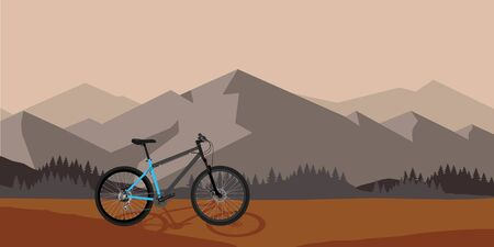 Bicycle riding in wild mountain nature landscape, background raster illustration. Sunset time
