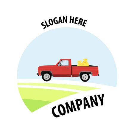 Retro farming label, badge and design element. Truck  company slogan Illusztráció