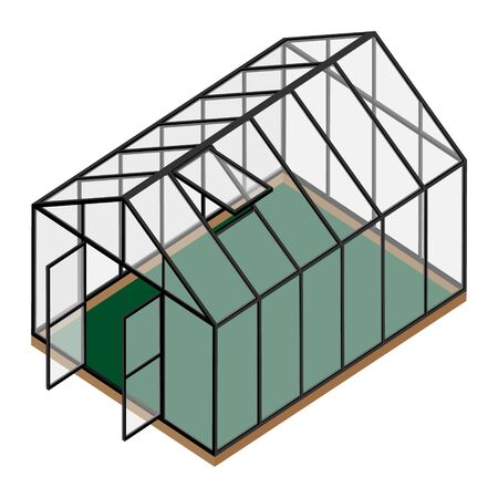 Empty greenhouse with opened window and door isometric view isolated on white