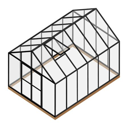 Empty greenhouse with closed door and opened window isometric view isolated on white
