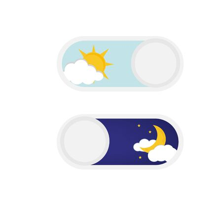Vector illustration of day and night. Day night concept, sun and moon, day night icon. User Interface element - On Off switcher Ilustração