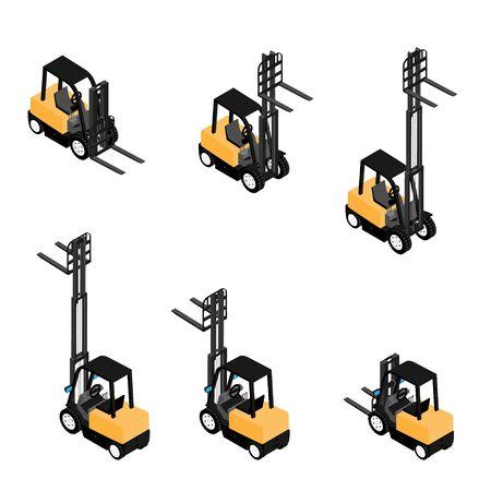 Wózki widłowe, niezawodne ciężkie ładowarki, ciężarówki przewożące ładunki. Widok izometryczny sprzętu o dużej wytrzymałości