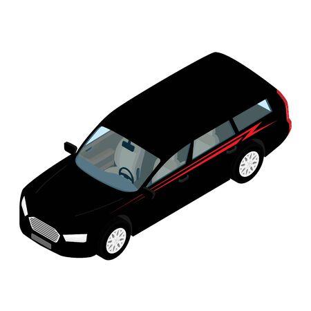 Icône de voiture de transport de ville isométrique de haute qualité voiture de wagon de passager noir. Vecteurs